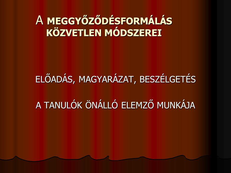A MEGGYŐZŐDÉSFORMÁLÁS KÖZVETLEN MÓDSZEREI
