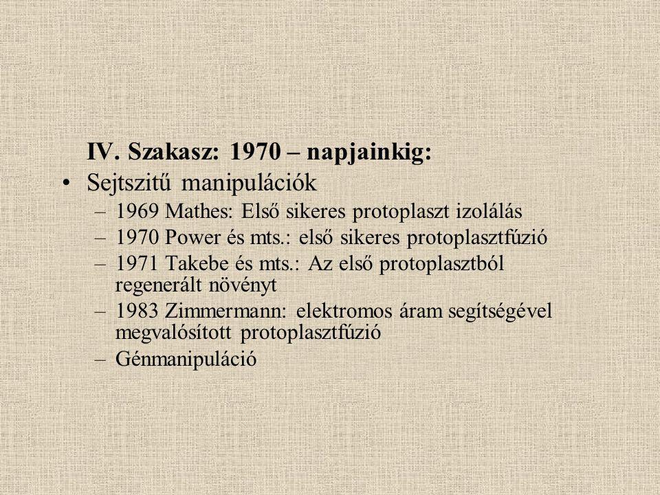 IV. Szakasz: 1970 – napjainkig: Sejtszitű manipulációk