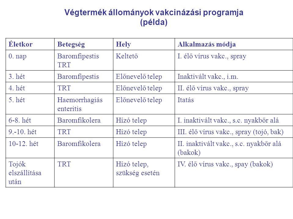 Végtermék állományok vakcinázási programja