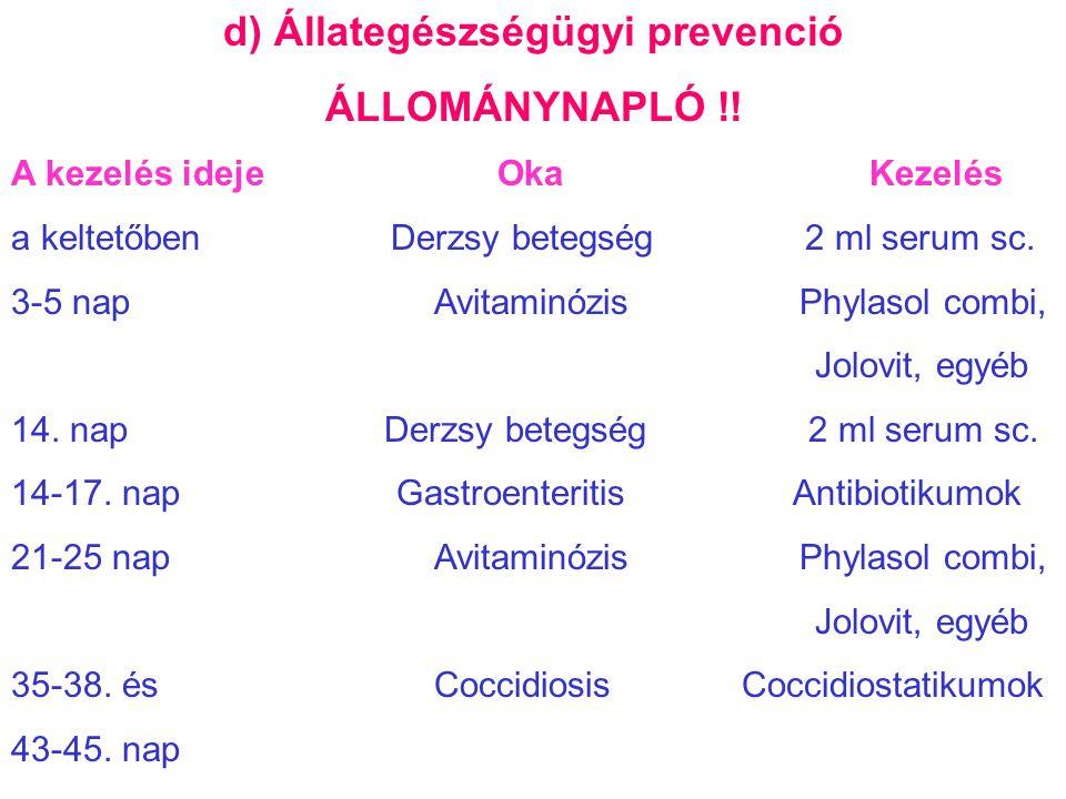 d) Állategészségügyi prevenció