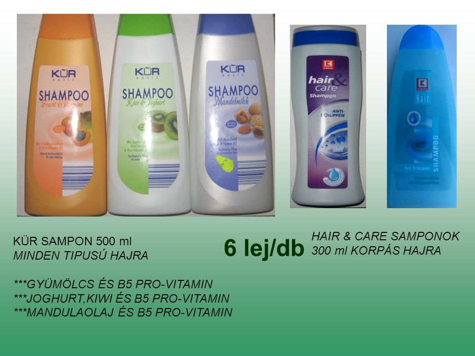 6 lej/db HAIR & CARE SAMPONOK KÜR SAMPON 500 ml 300 ml KORPÁS HAJRA