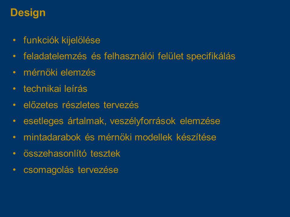 Design funkciók kijelölése