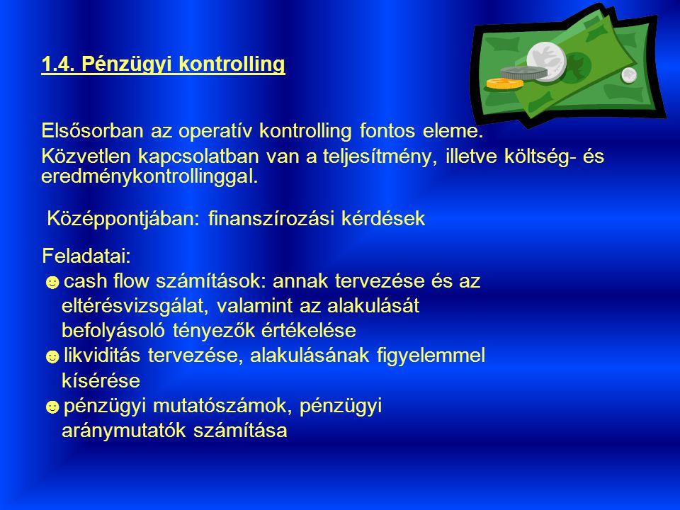 1.4. Pénzügyi kontrolling Elsősorban az operatív kontrolling fontos eleme.