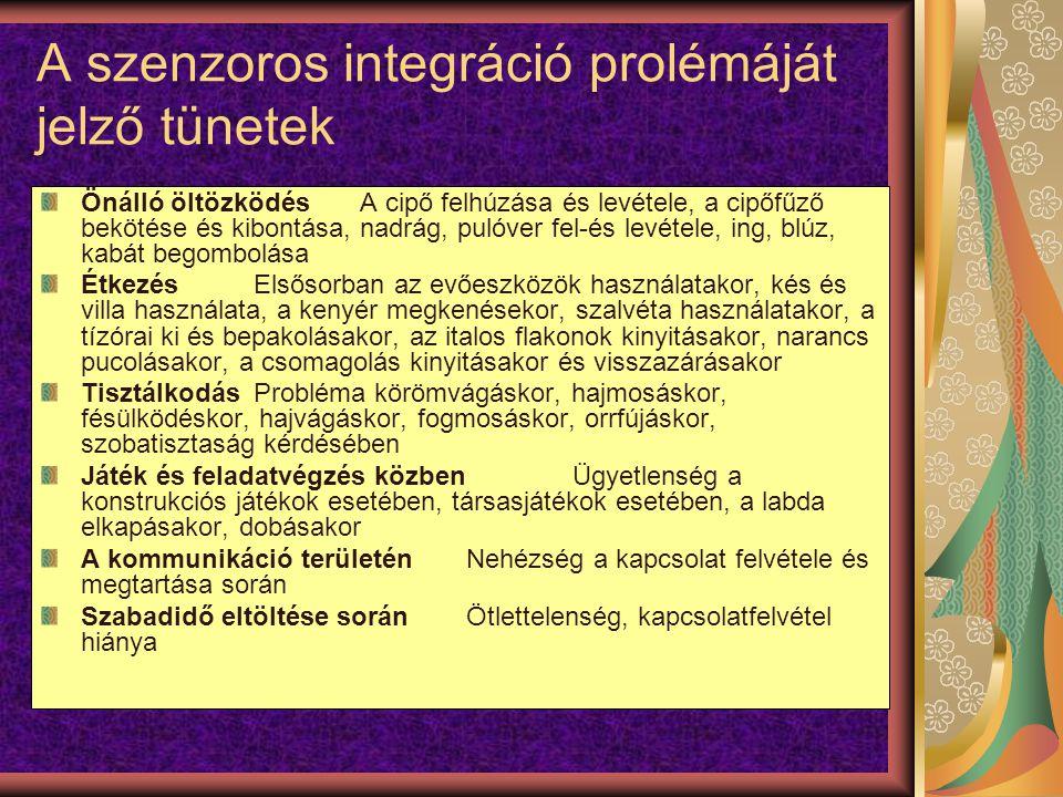 A szenzoros integráció prolémáját jelző tünetek