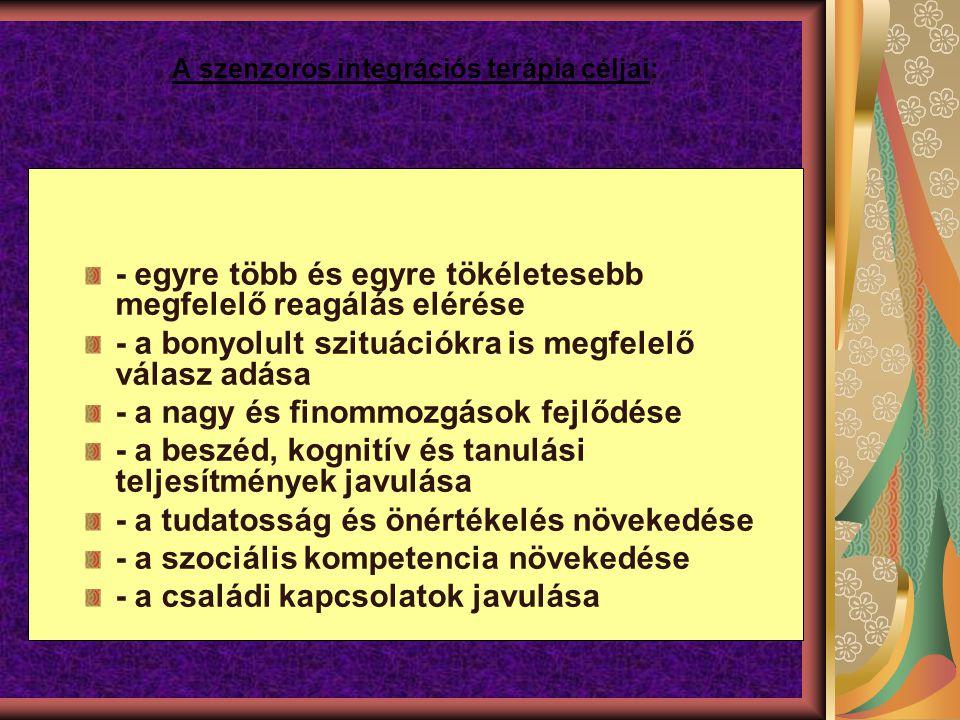 A szenzoros integrációs terápia céljai: