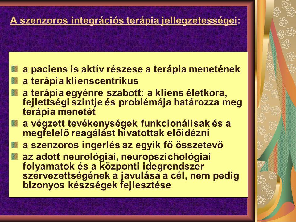 A szenzoros integrációs terápia jellegzetességei: