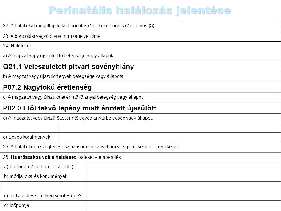 Perinatális halálozás jelentése
