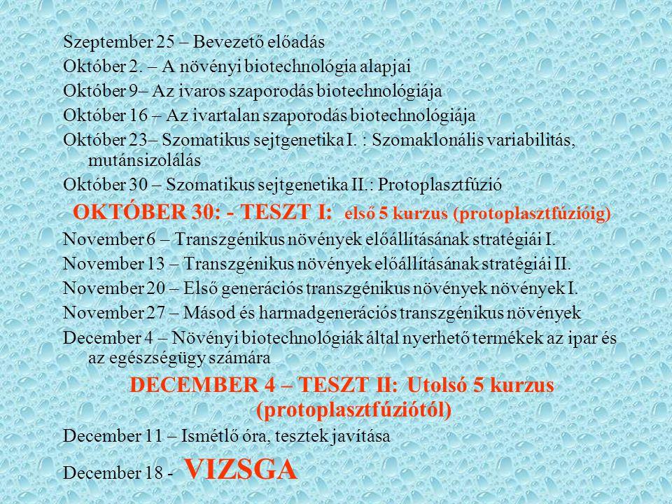 DECEMBER 4 – TESZT II: Utolsó 5 kurzus (protoplasztfúziótól)