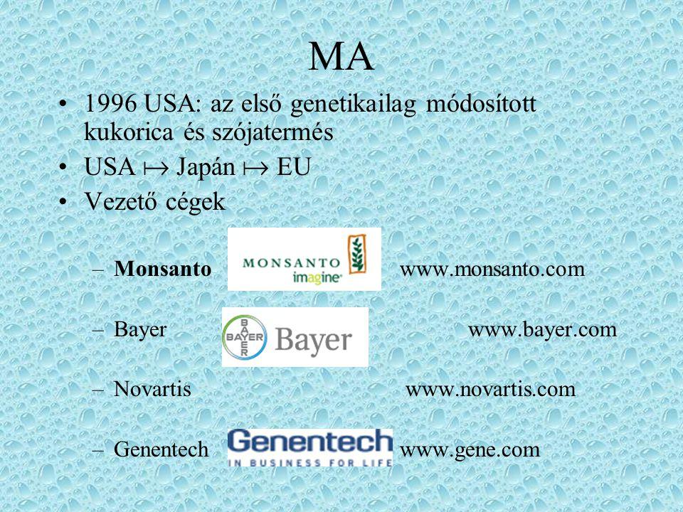 MA 1996 USA: az első genetikailag módosított kukorica és szójatermés