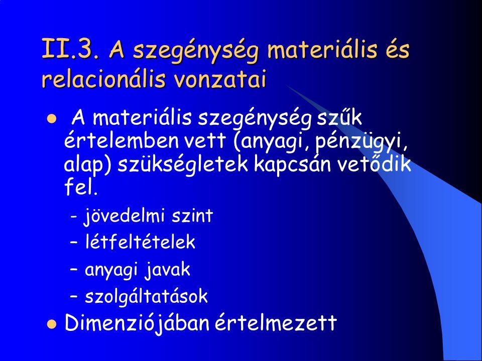 II.3. A szegénység materiális és relacionális vonzatai