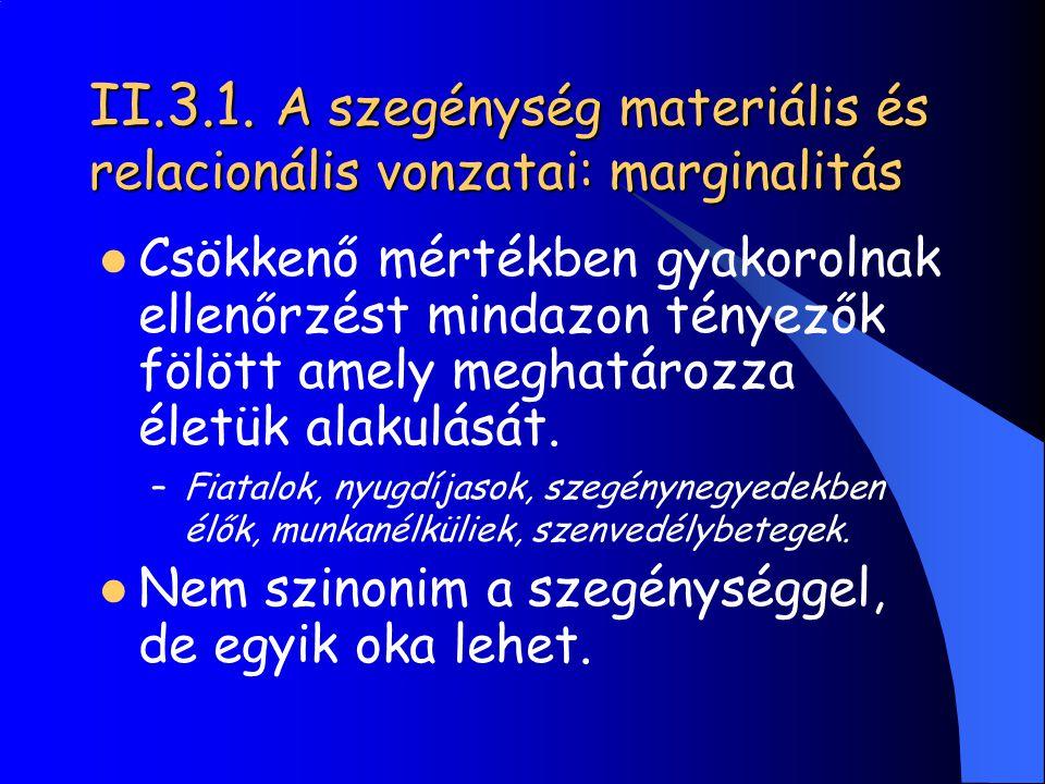 II.3.1. A szegénység materiális és relacionális vonzatai: marginalitás
