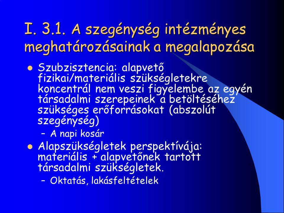 I. 3.1. A szegénység intézményes meghatározásainak a megalapozása