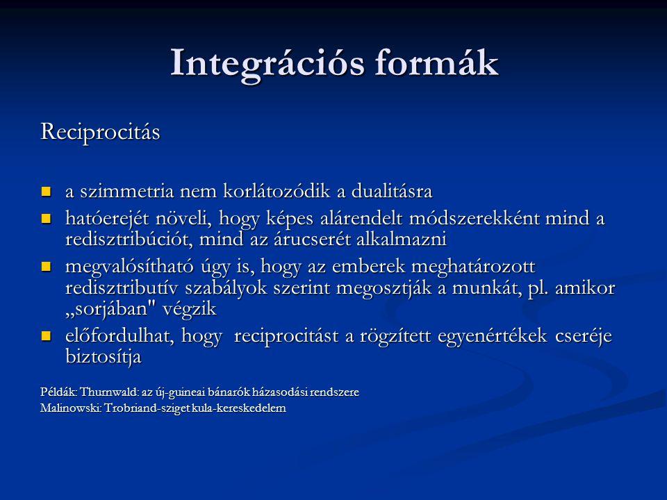 Integrációs formák Reciprocitás