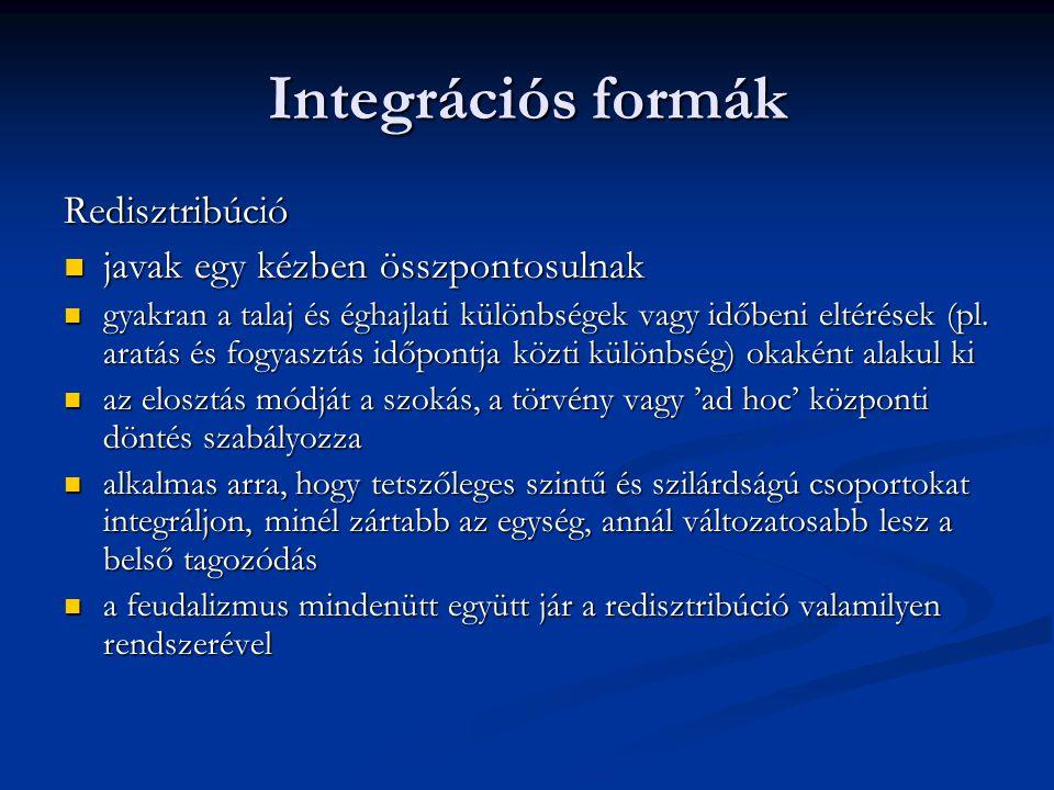 Integrációs formák Redisztribúció javak egy kézben összpontosulnak