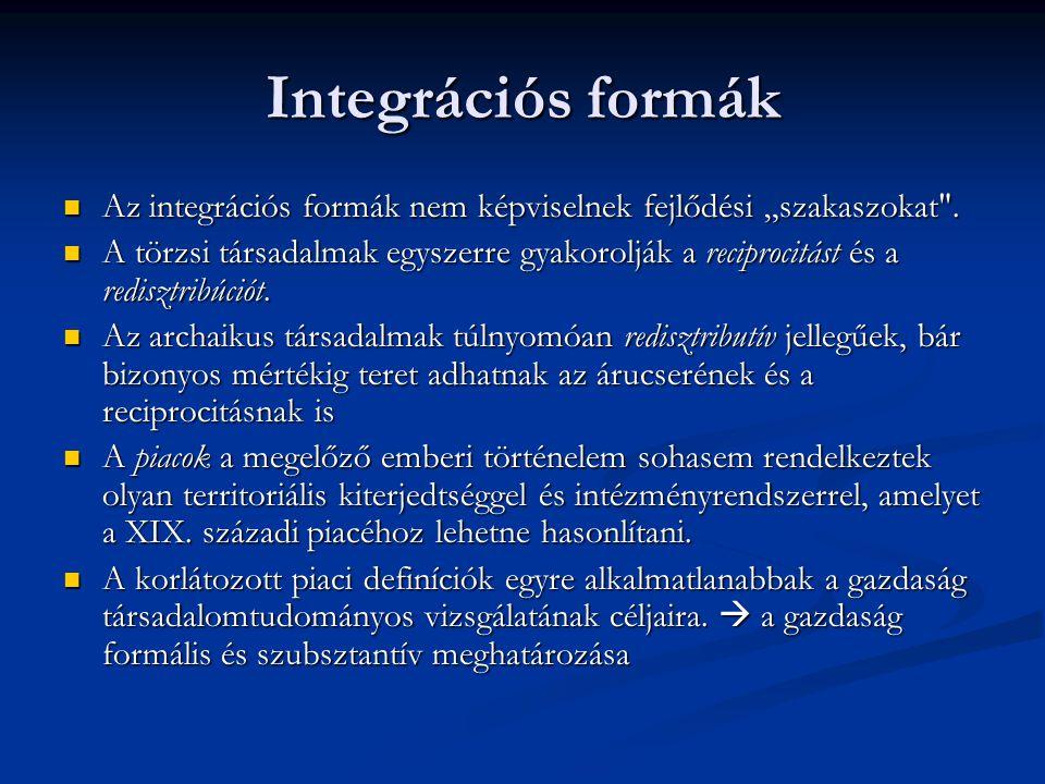 """Integrációs formák Az integrációs formák nem képviselnek fejlődési """"szakaszokat ."""