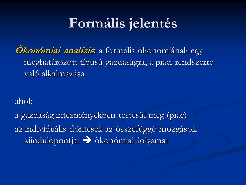 Formális jelentés Ökonómiai analízis: a formális ökonómiának egy meghatározott típusú gazdaságra, a piaci rendszerre való alkalmazása.