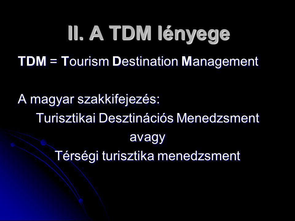 II. A TDM lényege TDM = Tourism Destination Management