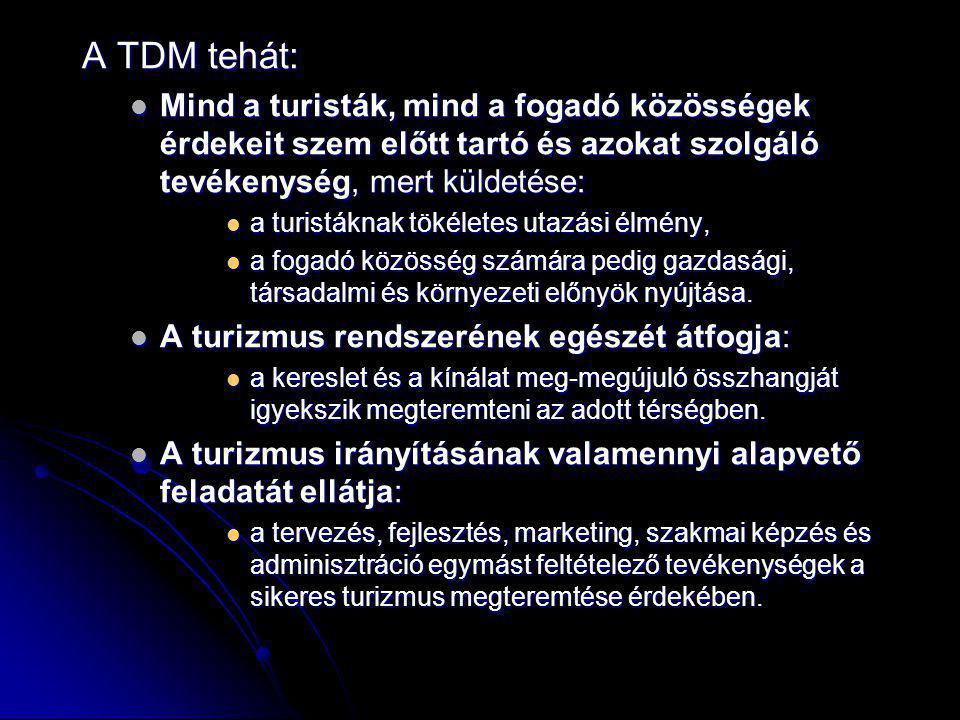 A TDM tehát: Mind a turisták, mind a fogadó közösségek érdekeit szem előtt tartó és azokat szolgáló tevékenység, mert küldetése: