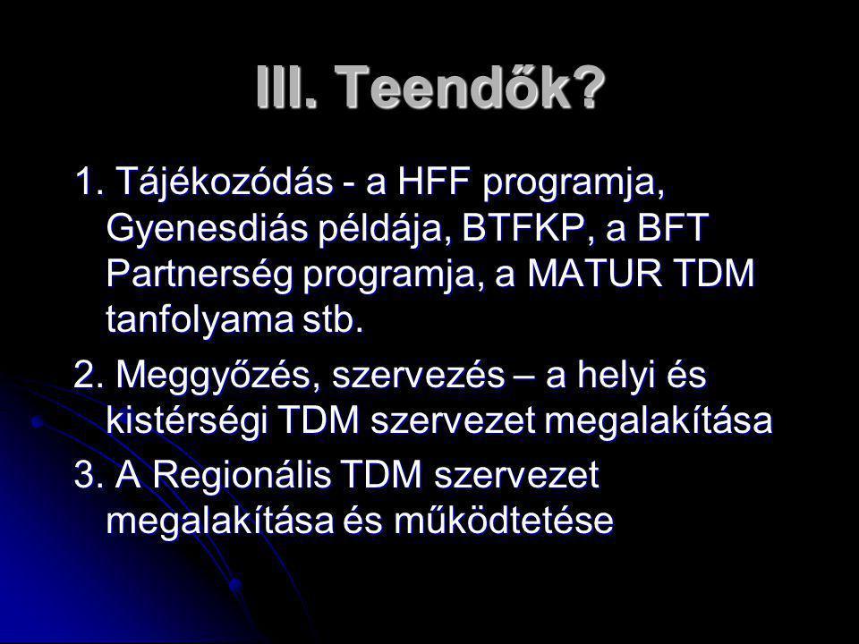 III. Teendők 1. Tájékozódás - a HFF programja, Gyenesdiás példája, BTFKP, a BFT Partnerség programja, a MATUR TDM tanfolyama stb.