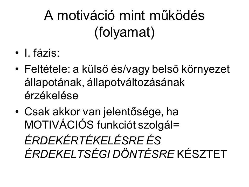 A motiváció mint működés (folyamat)