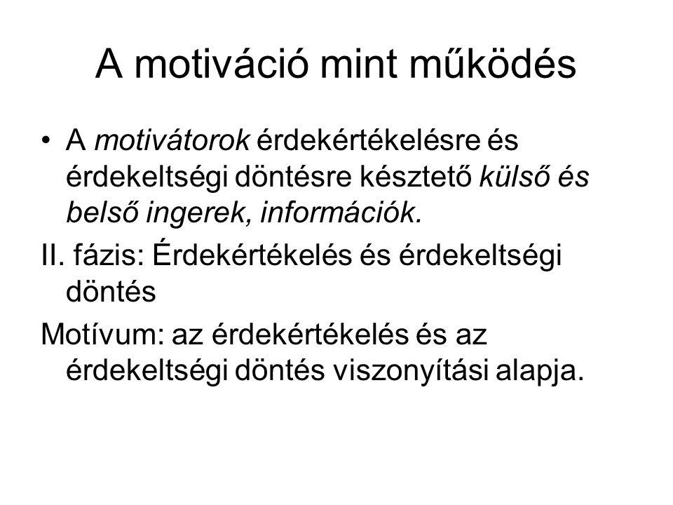 A motiváció mint működés