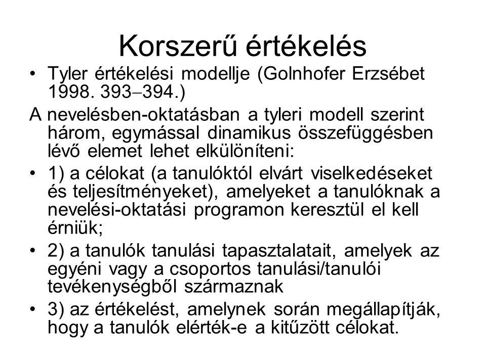 Korszerű értékelés Tyler értékelési modellje (Golnhofer Erzsébet 1998. 393394.)