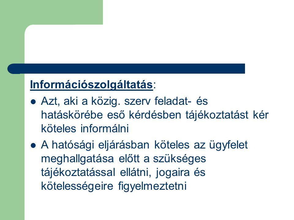 Információszolgáltatás: