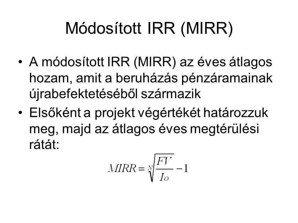 Módosított IRR (MIRR) A módosított IRR (MIRR) az éves átlagos hozam, amit a beruházás pénzáramainak újrabefektetéséből származik.
