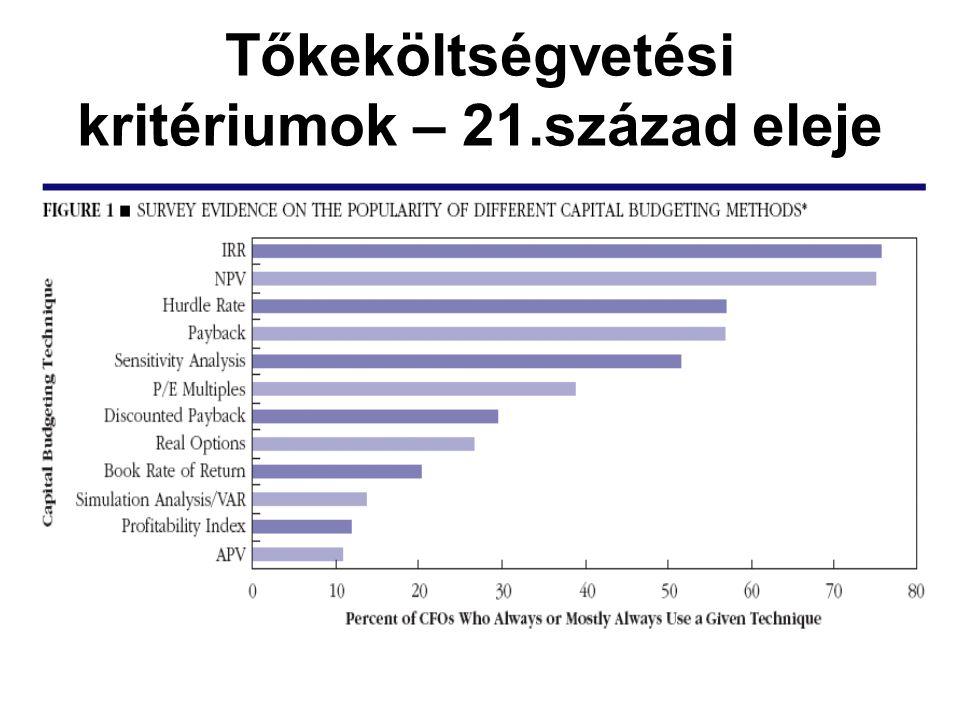 Tőkeköltségvetési kritériumok – 21.század eleje