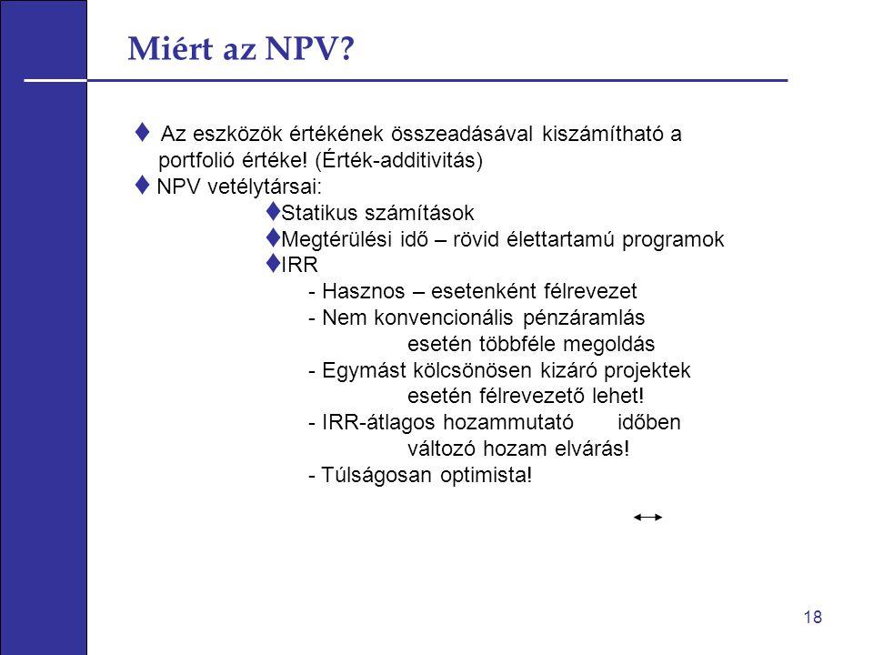 Miért az NPV Az eszközök értékének összeadásával kiszámítható a
