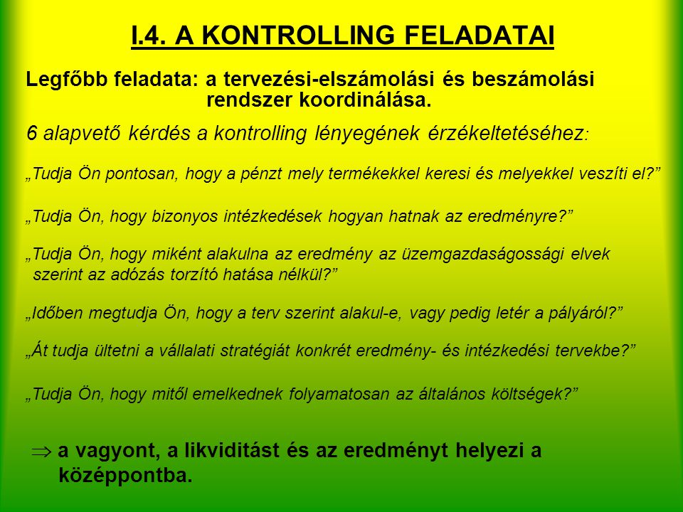 I.4. A KONTROLLING FELADATAI