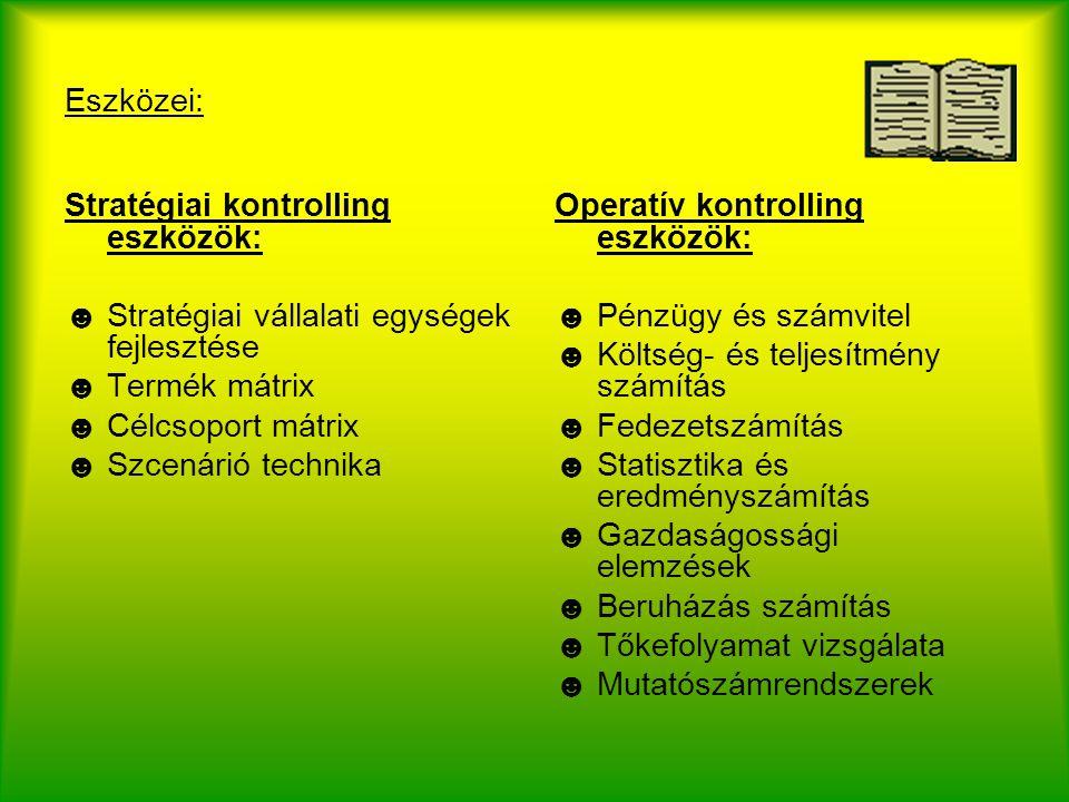 Eszközei: Stratégiai kontrolling eszközök: Stratégiai vállalati egységek fejlesztése. Termék mátrix.