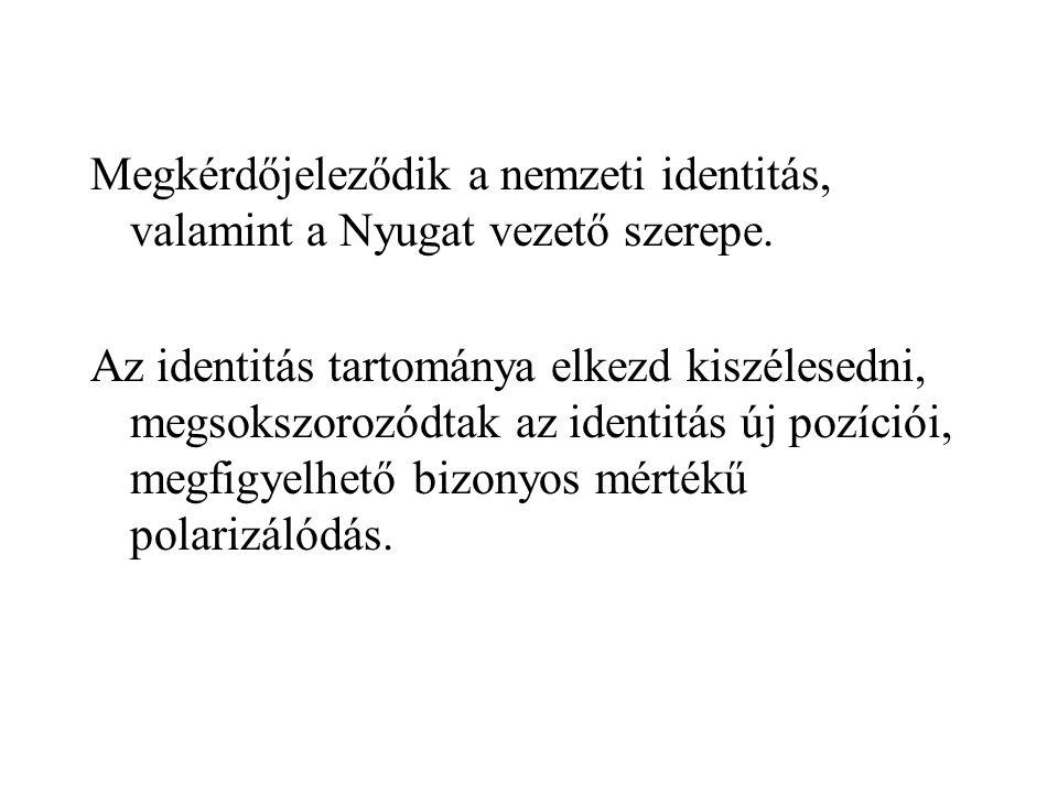 Megkérdőjeleződik a nemzeti identitás, valamint a Nyugat vezető szerepe.