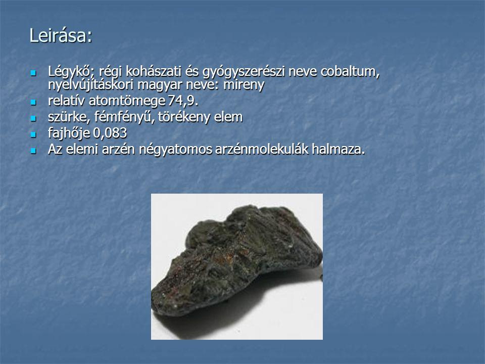 Leirása: Légykő; régi kohászati és gyógyszerészi neve cobaltum, nyelvújításkori magyar neve: mireny.