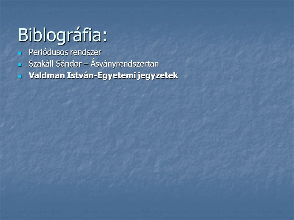 Biblográfia: Periódusos rendszer Szakáll Sándor – Ásványrendszertan