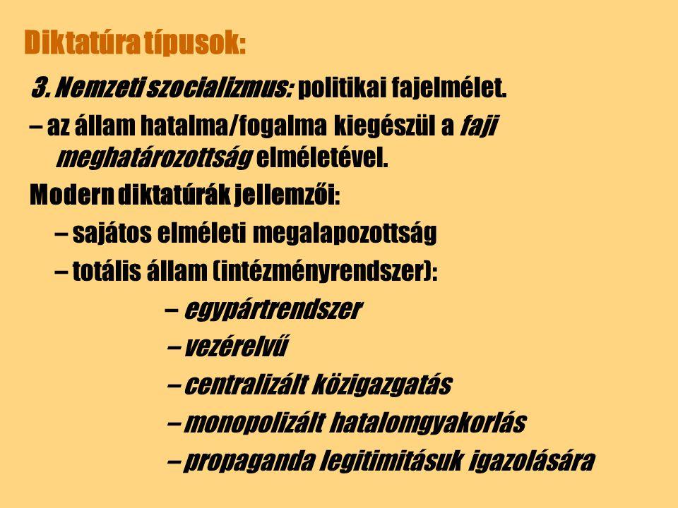 Diktatúra típusok: 3. Nemzeti szocializmus: politikai fajelmélet.