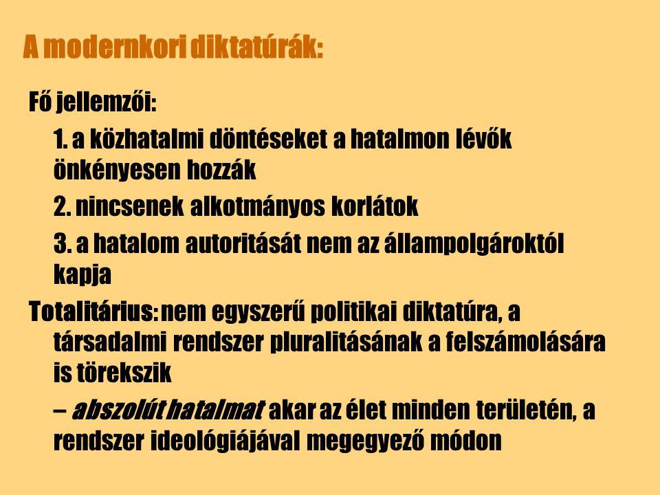 A modernkori diktatúrák: