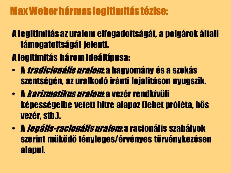 Max Weber hármas legitimitás tézise: