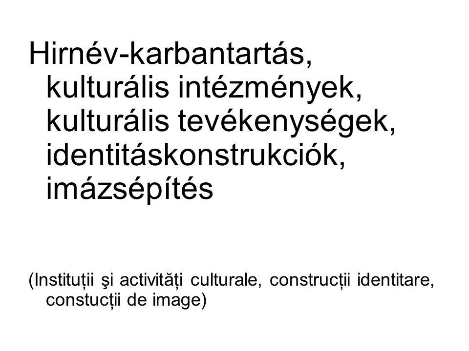 Hirnév-karbantartás, kulturális intézmények, kulturális tevékenységek, identitáskonstrukciók, imázsépítés