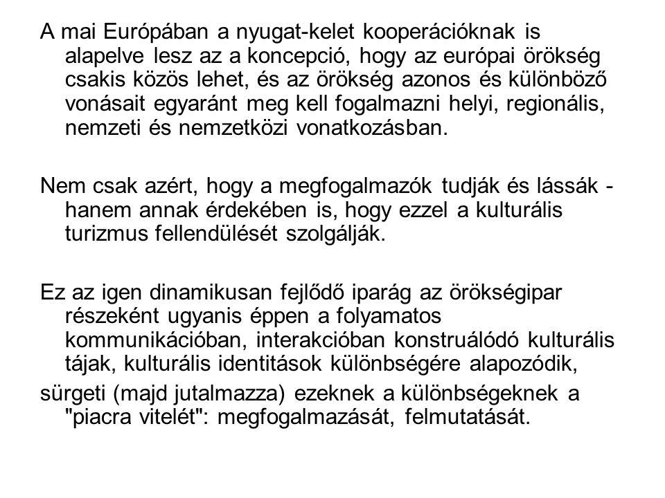 A mai Európában a nyugat-kelet kooperációknak is alapelve lesz az a koncepció, hogy az európai örökség csakis közös lehet, és az örökség azonos és különböző vonásait egyaránt meg kell fogalmazni helyi, regionális, nemzeti és nemzetközi vonatkozásban.