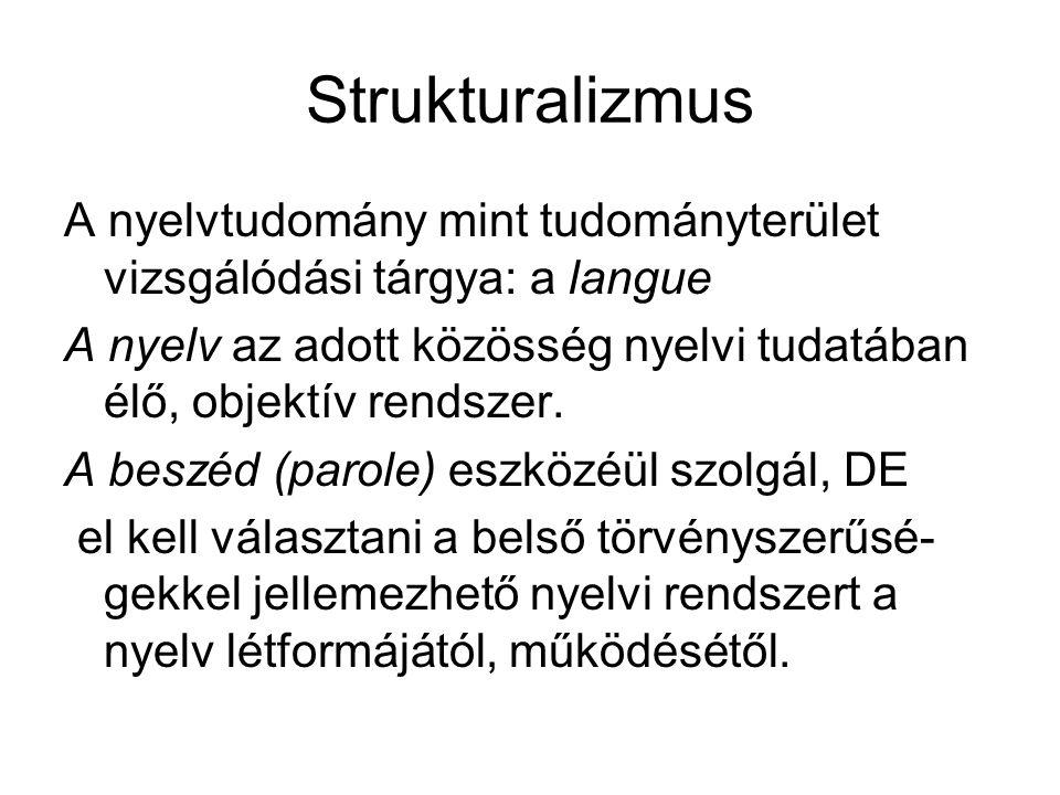 Strukturalizmus A nyelvtudomány mint tudományterület vizsgálódási tárgya: a langue.