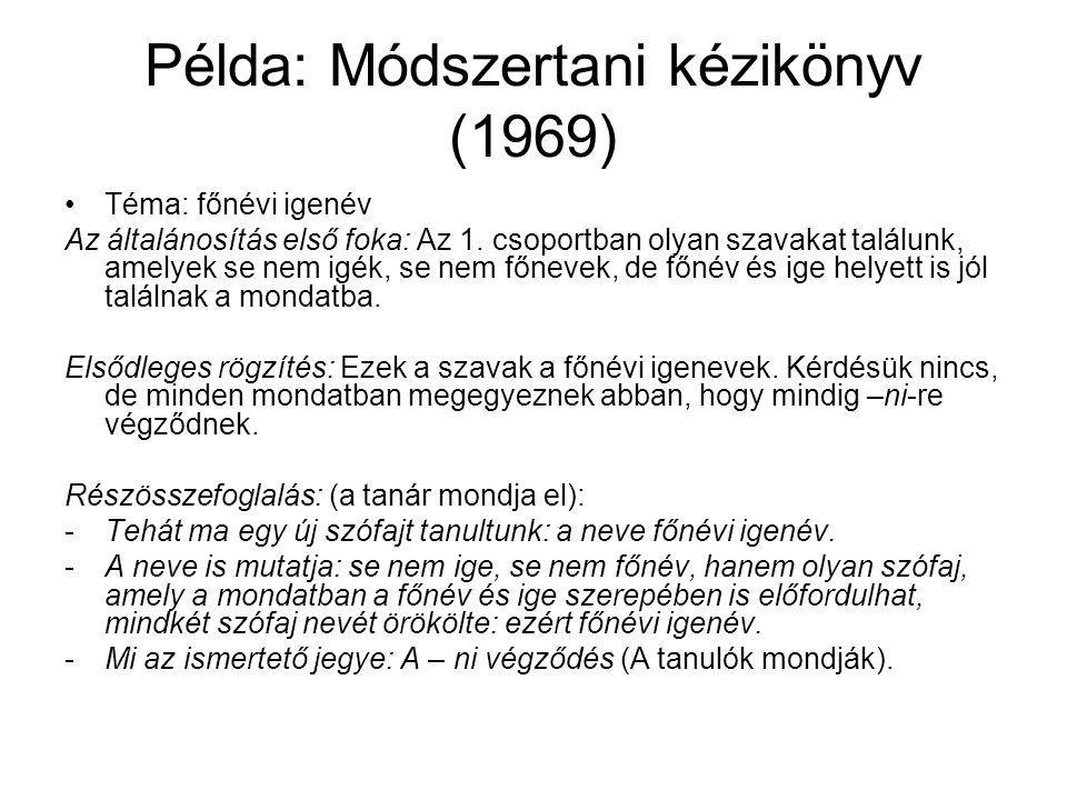 Példa: Módszertani kézikönyv (1969)