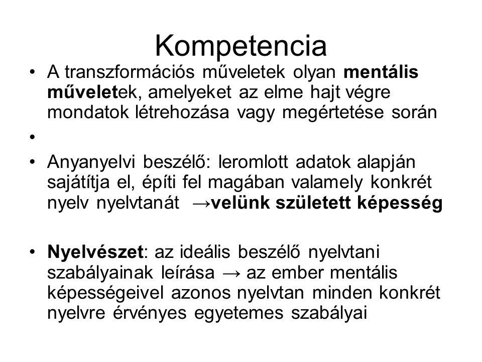 Kompetencia A transzformációs műveletek olyan mentális műveletek, amelyeket az elme hajt végre mondatok létrehozása vagy megértetése során.