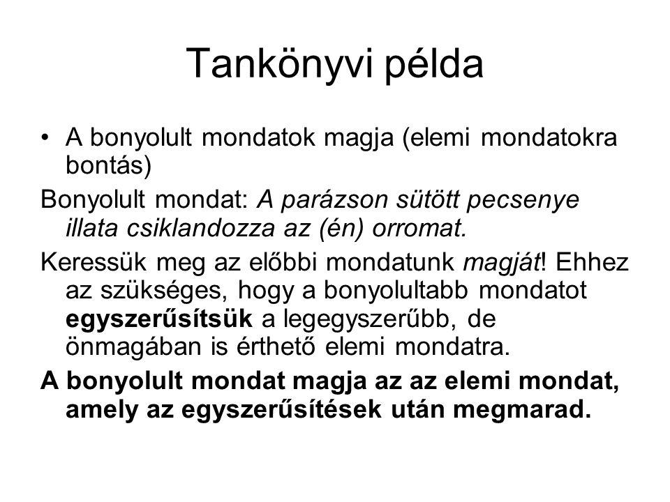Tankönyvi példa A bonyolult mondatok magja (elemi mondatokra bontás)