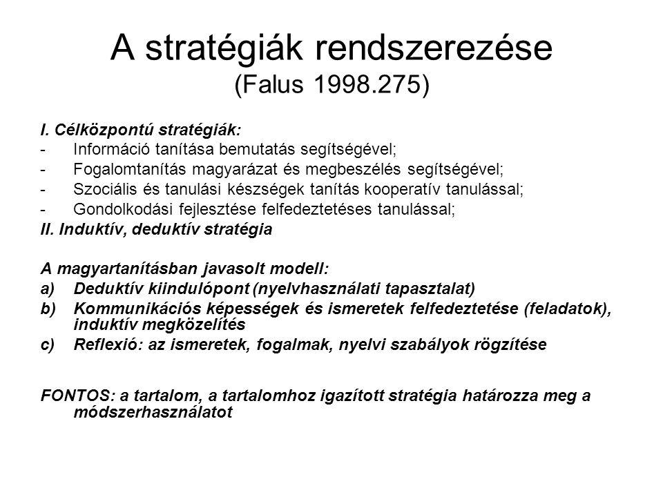 A stratégiák rendszerezése (Falus 1998.275)