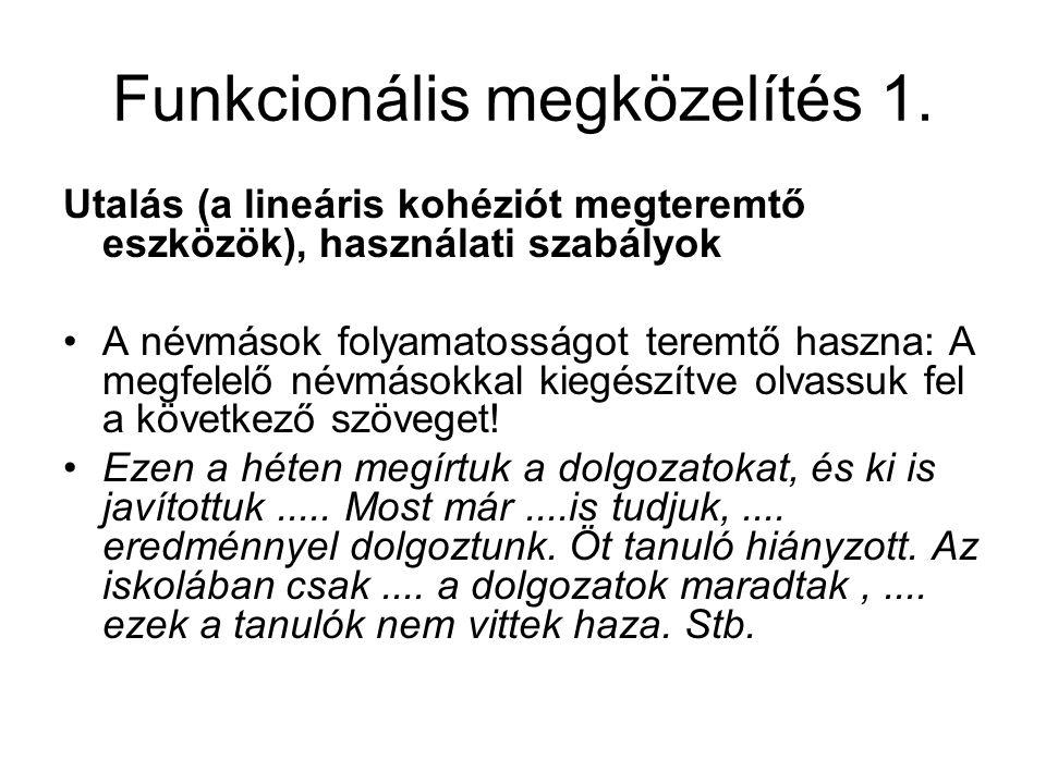 Funkcionális megközelítés 1.
