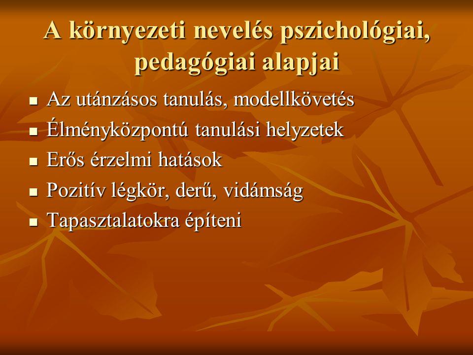 A környezeti nevelés pszichológiai, pedagógiai alapjai