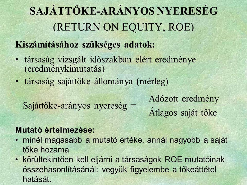 SAJÁTTŐKE-ARÁNYOS NYERESÉG (RETURN ON EQUITY, ROE)