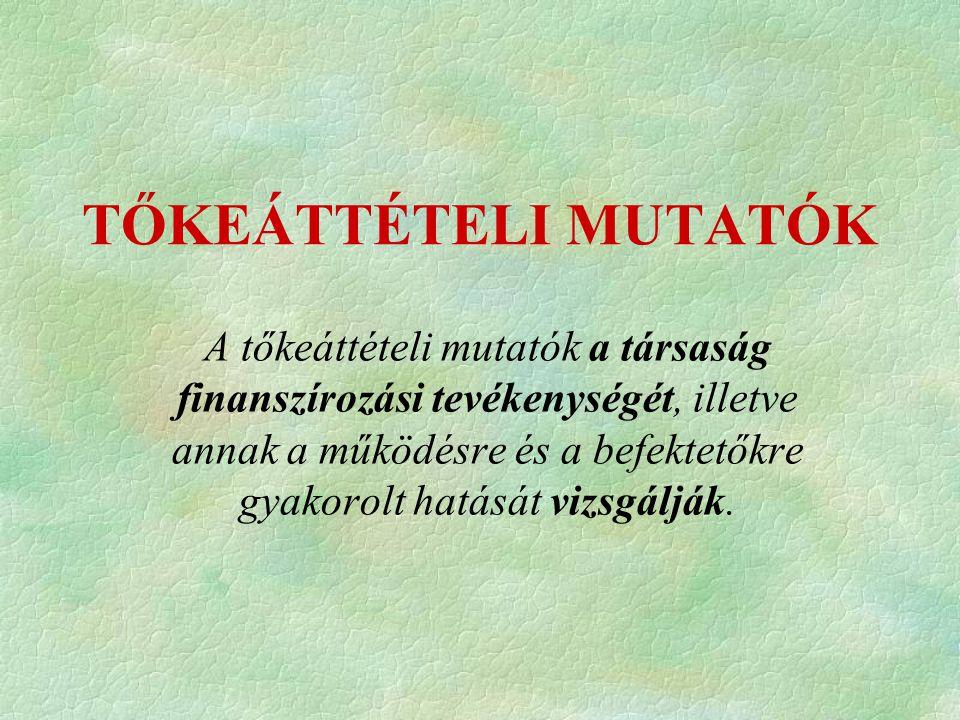 TŐKEÁTTÉTELI MUTATÓK