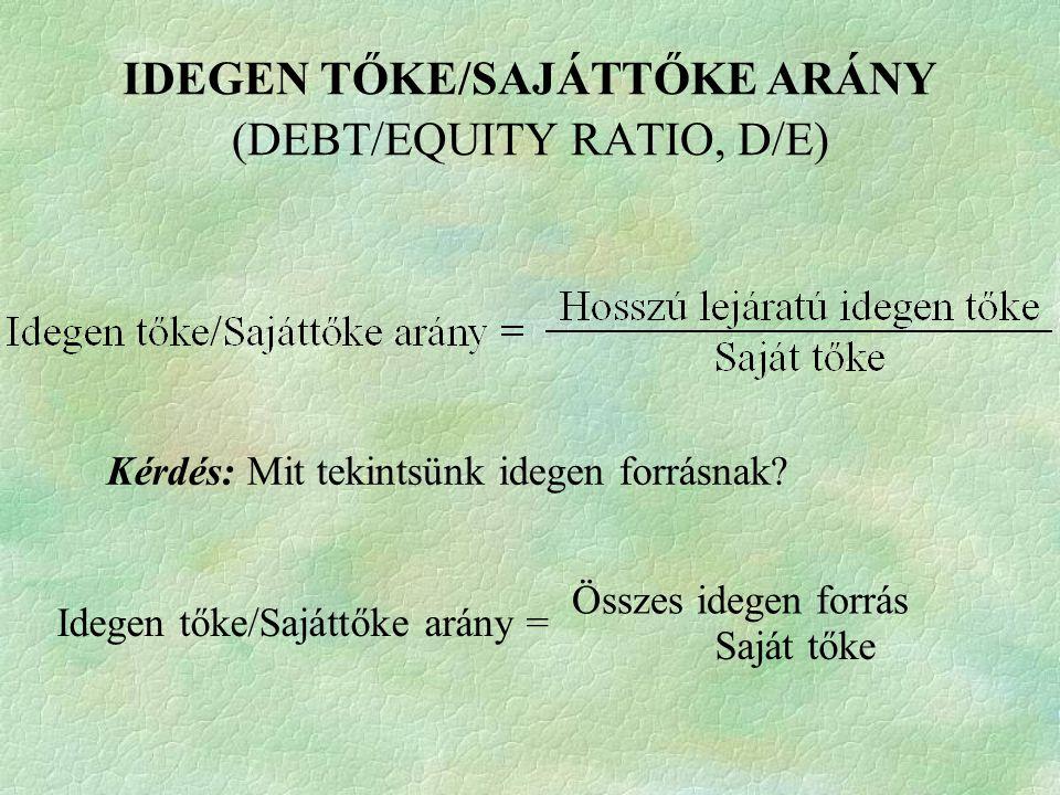 IDEGEN TŐKE/SAJÁTTŐKE ARÁNY (DEBT/EQUITY RATIO, D/E)